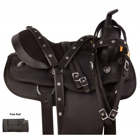 Black Synthetic Round Skirt Western Pleasure Trail Horse Saddle Tack Set