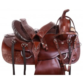 Classic Western Trail Endurance Leather Tooled Horse Saddle Tack Package