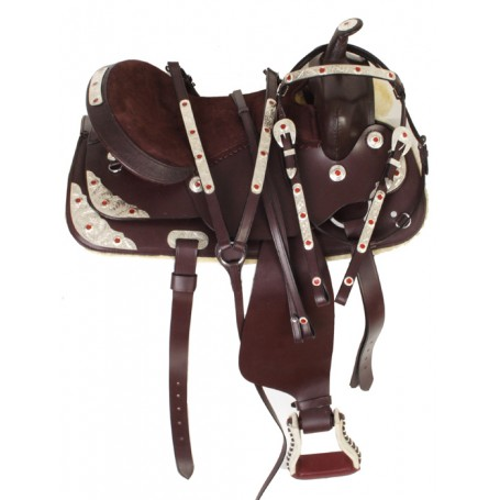 16 Brown Show Saddle With Silver Red Trim