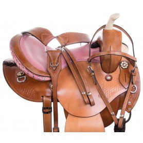 Pink Ostrich Western Barrel Racing Leather Show Horse Saddle Tack Set