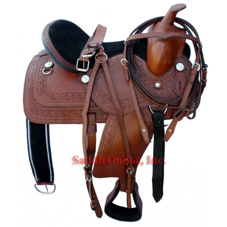 18 Dark Brown Hand Tooled Oiled Leather saddle