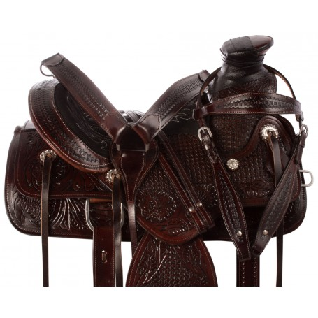 "14"" Premium Wade Tree Dark Oil Western Roping Ranch Work Leather Horse Saddle Tack"