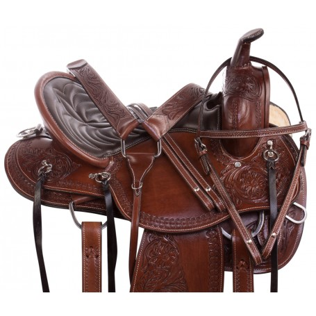 Deep Seat Western Endurance Premium Leather Horse Saddle Tack Package
