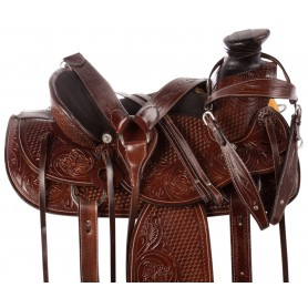 Comfy Cush Western Mahogany A Fork Ranch Roping Premium Leather Horse Saddle Tack Set
