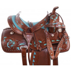 Turquoise Inlay Western Leather Show Barrel Racing Trail Horse Saddle Tack Set