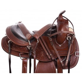 Gaited Bars Beautiful Hand Carved Western Pleasure Trail Premium Leather Horse Saddle Tack Set