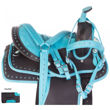 Teal Crystal Show Youth Kids Western Trail Synthetic Horse Saddle Tack Set