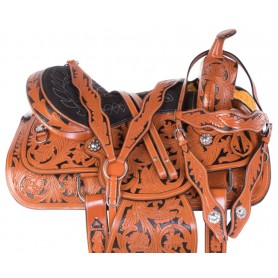 Premium Black Inlay Barrel Racing Western Trail Leather Horse Saddle Tack Set