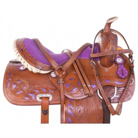 Purple Inlay Crystal Barrel Racing Leather Western Horse Saddle 14 17