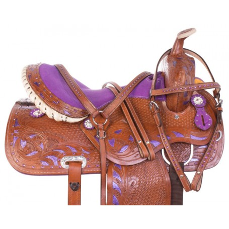 Purple Inlay Crystal Barrel Racing Leather Western Horse Saddle 14 16