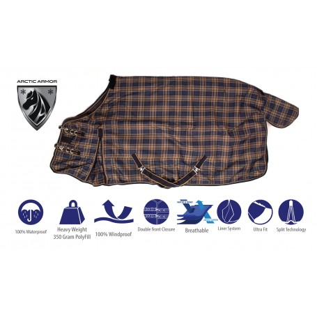 Navy Plaid 1200D 350g Fill Turnout Winter Horse Blanket Waterproof