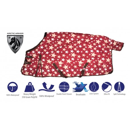 Red Stars Turnout Winter Horse Blanket Water Repellent Heavy Weight 1200D 350g Fill
