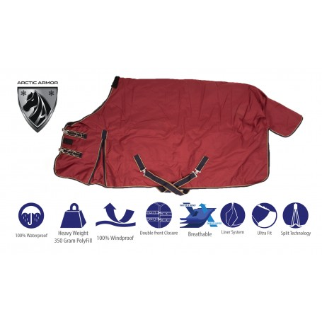 Red Burgundy Heavy Weight 1200D 350g Fill Turnout Winter Horse Blanket Water Repellent