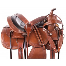 Chestnut Tooled Western Leather Pleasure Trail Ranching Horse Saddle Tack Set