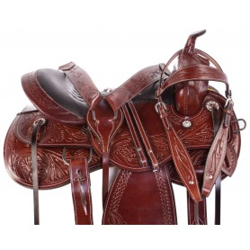 Hand Carved Leather Mahogany Western Pleasure Trail Premium Horse Saddle Tack Package