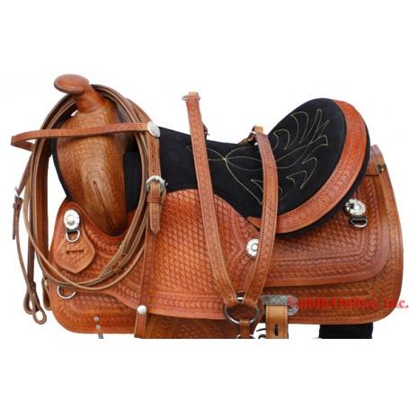 New 15 16 hand tooled western leather horse saddle & Tack