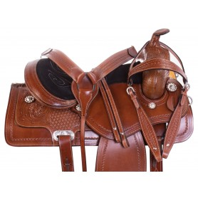 Classic Western Cowboy Ranching Trail Hand Tooled Comfy Leather Horse Saddle Tack Set