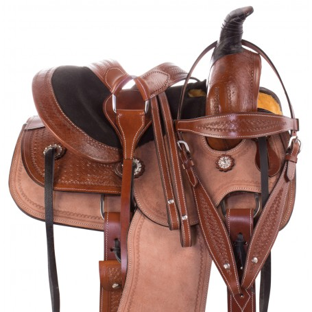 Rough Out Youth Kids Seat Western Roping Ranch Leather Horse Saddle Tack Package