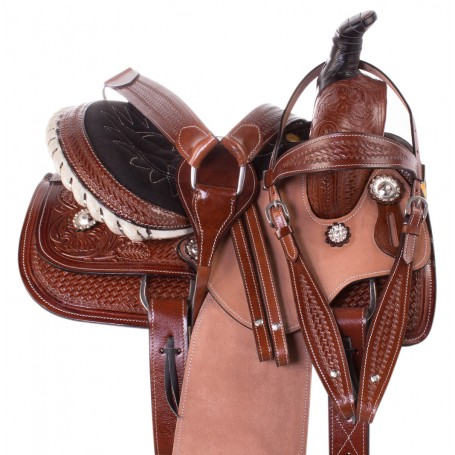 Childrens Western Ranch Roper Barrel Racing Youth kids Leather Horse Saddle Tack Set