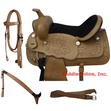 New 15-18 Natural Hand Carved Western Saddle With Tack