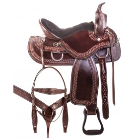 Gaited Tree Comfortable Dark Brown Western Trail Endurance Leather Horse Saddle Tack Set