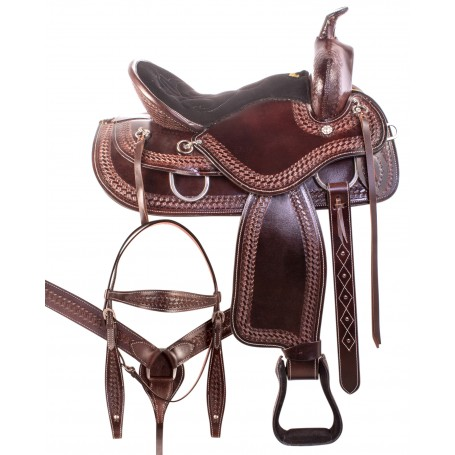 Gaited Tree Comfortable Dark Brown Western Trail Endurance Leather Horse Saddle Tack Set
