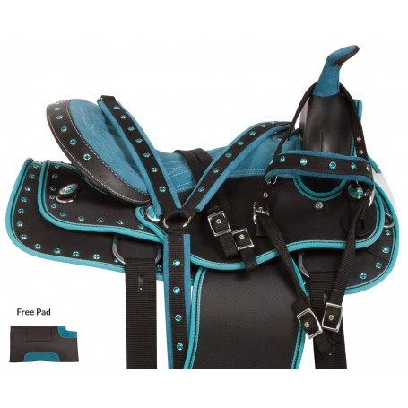 Blue Crystal Western Pleasure Trail Show Horse Saddle 15