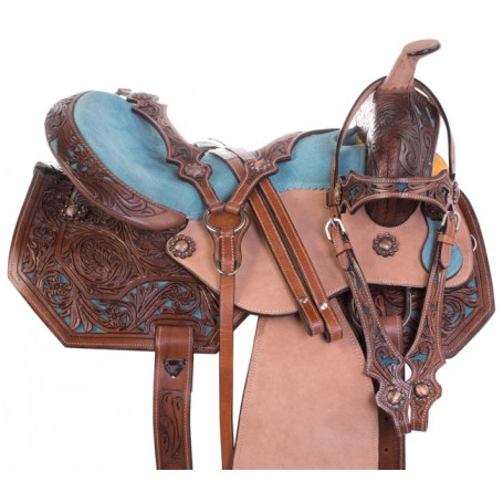 Blue Inlay Premium Western Barrel Racing Trail Leather Horse Saddle Tack