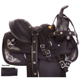 Black Silver Show Youth Cordura Western Horse Saddle 12