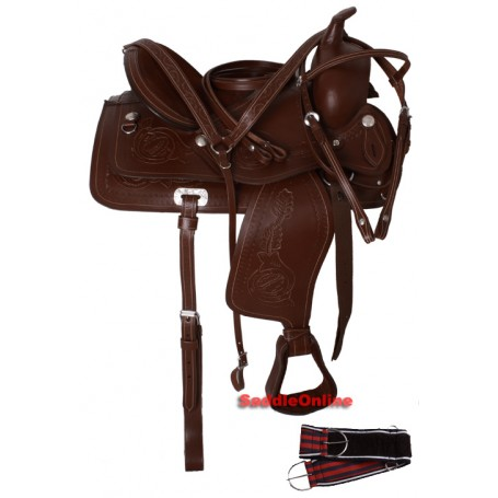Draft Horse Leather Hand Carved Saddle W Tack 15 16