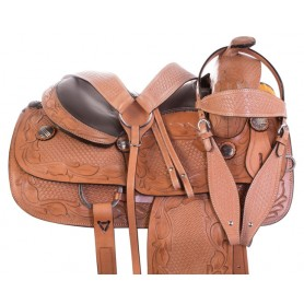 Tan Hand Tooled Premium Western Leather Reining Horse Saddle Tack 15""