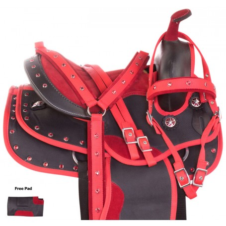 Red Crystal Synthetic Pony Kids Western Saddle Tack 10