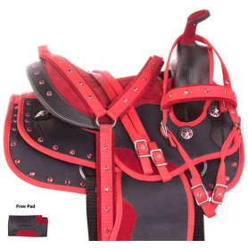 Red Crystal Synthetic Youth Kids Western Horse Saddle 12 13