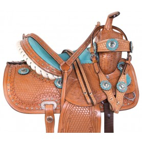 Light Turquoise Crystal Youth Kids Horse Saddle Tack 10 13
