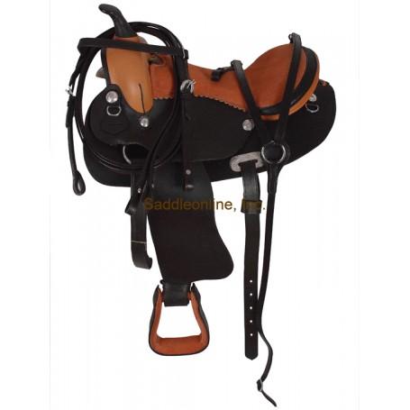 12 Brown Buck Stich Horse Saddle W Tack