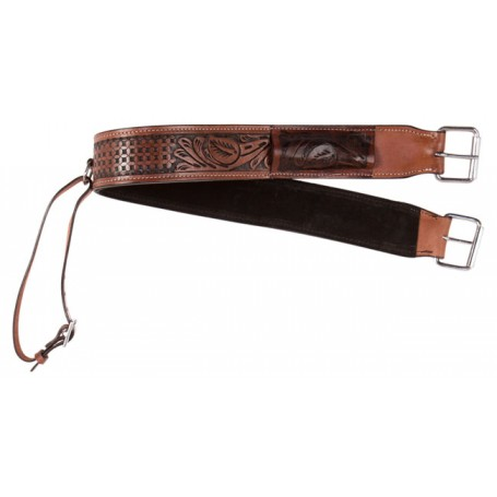 Beautiful Hand Carved Antiqe Oil Western Leather Back Cinch Buckle Flank Strap