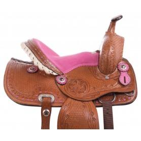 Youth Kid Seat Pink Full Size Western Horse Saddle Leather Tack 12