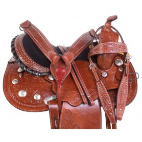Silver Western Show Barrel Racing Leather Trail Horse Saddle Tack