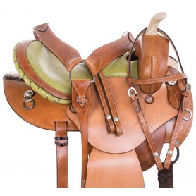 Green Ostrich Leather Western Barrel Racing Trail Round Skirt Horse Saddle Tack Set