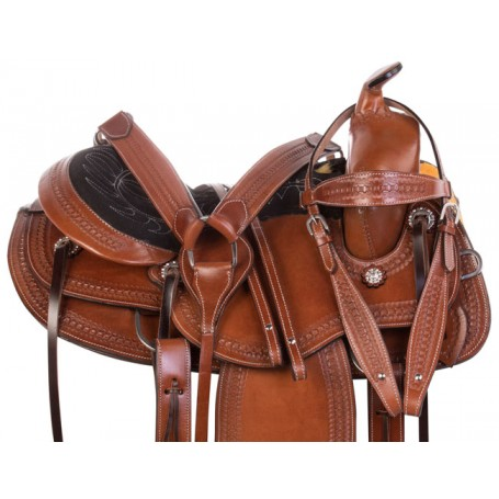 Gaited Tree Western Pleasure Trail Comfy Leather Horse Saddle Tack Set
