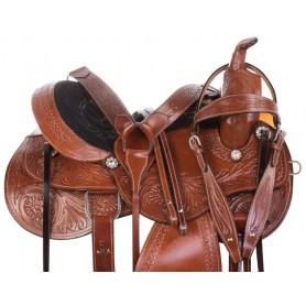 Premium Classic Tooled Western Pleasure Trail Leather Horse Saddle Tack