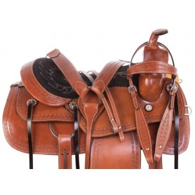 Comfy Western Tooled Pleasure Trail Ranching Leather Horse Saddle Tack Set