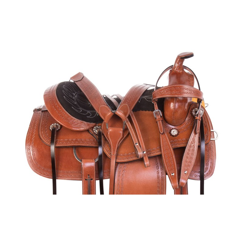 Brown Tooled Western Pleasure Trail Comfy Leather Horse Saddle Tack Set