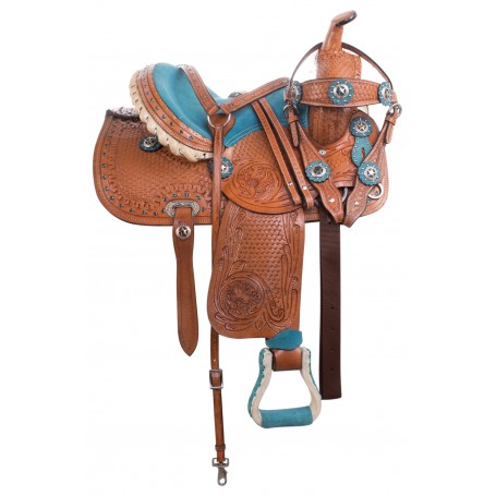 Blue Youth Kids Pony Horse Western Trail Saddle Tack 12 14