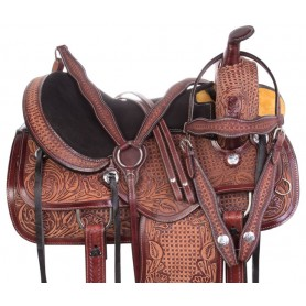 Antique Mahogany Western Pleasure Trail Ranch Leather Horse Saddle Tack Set