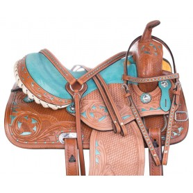 Western Barrel Racing Turquoise Show Crystal Leather Horse Saddle Tack