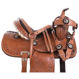Western Youth Pony Horse Kids Barrel Trail Leather Saddle 10
