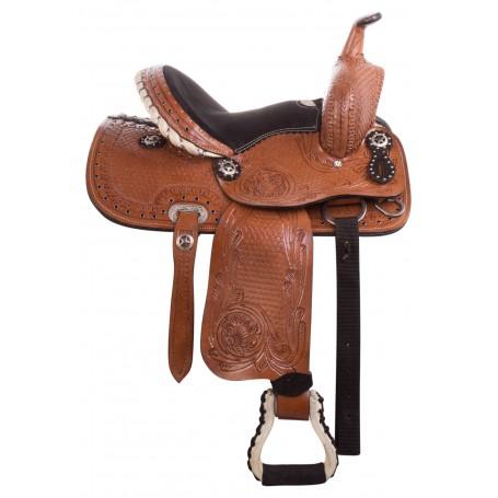 10 12 13 PRO WESTERN KIDS YOUTH BARREL RACING PLEASURE HORSE LEATHER SADDLE TACK