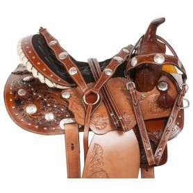 Arabian Silver Show Hand Carved Western Barrel Trail Horse Saddle 14 17