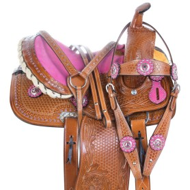 Pink Show Crystal Youth Barrel Racing Western Leather Horse Saddle Tack Set
